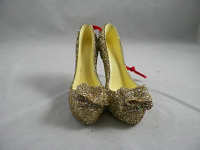 Gold Glittered High Heel Shoes with Bow Christmas Tree Ornament new holiday
