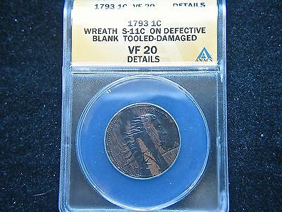 1793 Wreath 1C S-11c Lettered Edge BN Flowing Hair Large Cent ANACS VF Details