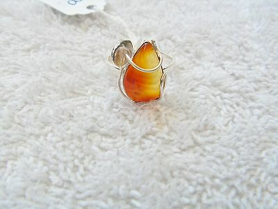 Amber  Silver Ring  From Chiapas-Mexico New. Size 7.5