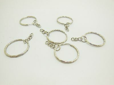 170Pcs Nickel Color Round Split Key Rings With Chains