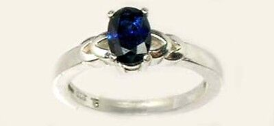 Antique 19thC 1ct Sapphire Celtic Roman Greek Sorcery Sterling Ring