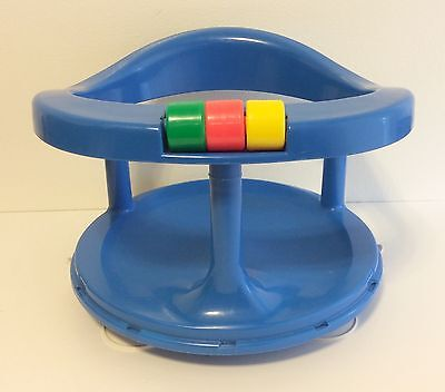 Vintage 1989 Safety 1st Blue Rotating Suction Cup Bottom Ring Bath Seat