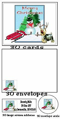 120 piece Silky Terrier Dog Christmas card set labels