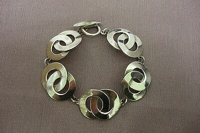 Vtg Solid Sterling Silver Mexico Bracelet Double Circles Toggle Catch 38.5g