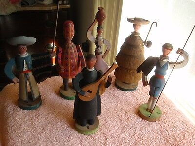 Vintage Wood Hand Carved And Painted Figurines By Tom From Portugal 6 Pieces