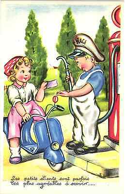 Girl Gas Station  Motorcycle Scooter Lambretta Vintage Comic Postcard
