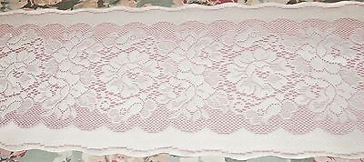 "VINTAGE TABLE RUNNER SCARF ROSE COLOR LACE BACKING SCALLOPED EDGE 12 1/2"" x 54"""