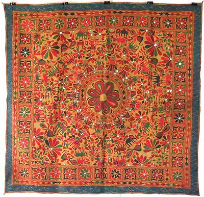 "57""Old India Rabari Banjara HAND EMBROIDERY Textile Mirror Tapestry Wall Hanging"