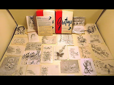 50 Vintage Ann Adams Drawn by Mouth Greeting/Blank Note Cards Handicapped Artist