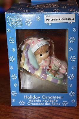 Precious Moments Baby Girl's First Christmas Resin Ornament Cookies Santa p492