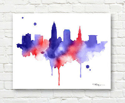 Cleveland Skyline Abstract Watercolor Painting Ohio Art Print by Artist DJR