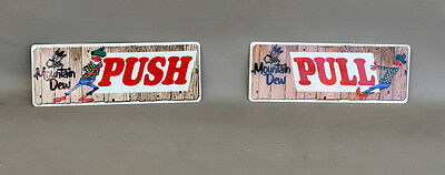 Mountain Dew DOOR PUSH & PULL Diecut Sign Pair  with Hillbilly modern retro