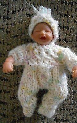 "Doll Clothes footed suit for ooak hand sculpted baby 4"" 5"" fits Heavenly Handful"