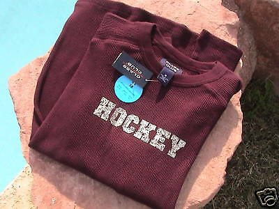HOCKEY WAFFLE KNIT T-SHIRT  YOUTH size 18 in BURGANDY - NEW
