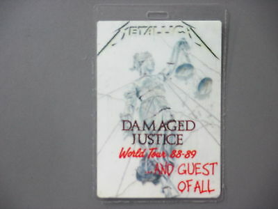 Metallica backstage pass Laminated Damaged Justice 88-89 Guest Of All LARGE!!