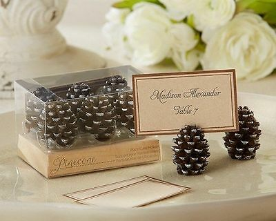 Pinecone Place Card Holders Set of 6 Fall Wedding Favors