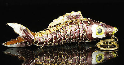 Collectible Old Handwork Painting Cloisonne Vivid  Fish Statue Decorations Gifts