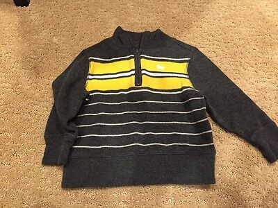 Euc Boys Old Navy Gray Yellow  Pull Over Sweater Holiday 18-24 Months