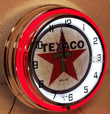"""18"""" TEXACO Gasoline Motor Oil Gas Station Double Neon Clock 1936 Distressed Sign"""