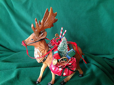 """90's Resin REINDEER WITH SANTA'S PACKS~9"""" tall~Christmas~old shop stock"""