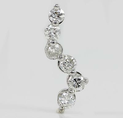 Solid 14K White Gold 1.0ct Natural Diamond Journey Pendant QR1