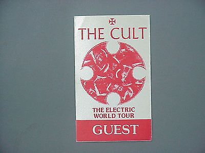 The Cult satin cloth backstage pass AUTHENTIC Electric Tour - red rectangle !
