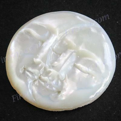 "7/8"" MOON AND SUN FACE CLOSED EYES MOTHER OF PEARL CARVING BEAD CAB cabochon"
