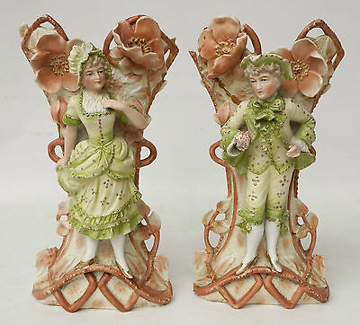 Pair Of Hand Painted German Bisque Porcelain Figural Vases Boy And Girl