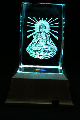 India Buddha Laser Inscribe Crystal LED Night Light Gift DRLG04D