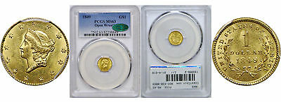 1849 $1 Gold Coin PCGS MS-63 CAC Open Wreath