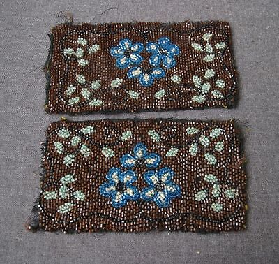 2 Antique Flowers & Leaves Beaded Appliques For Dolls , Craft Or Purse Project