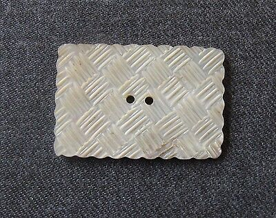 Antique Carved Woven Stripes Mop Mother Of Pearl Huge Button  2