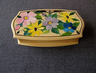 Antique 1920's Velvet Interior Hand Painted Flowers Creamy Celluloid Sewing Box