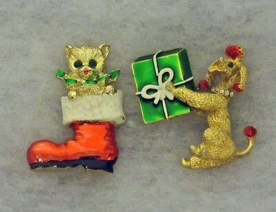 Vintage Christmas Jewelry Pin Lot Cat in Boot & Poodle Holding Gift rhinestones