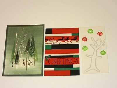 3 Vtg 50's Christmas Card all Mod Deer Peggy Sheppard CA Artists juggling OZ