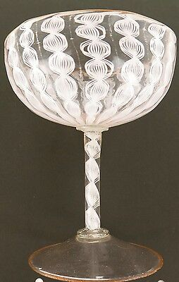 .super Rare Early Georgian 1700'S Air Twist Stem Crystal Champagne Glass.