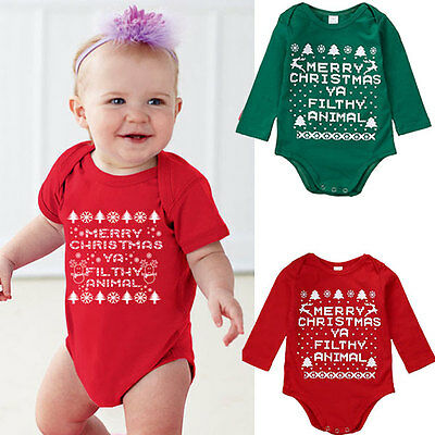First Christmas Newborn Baby Girls Boy Romper Bodysuit Outfits Christmas Gifts