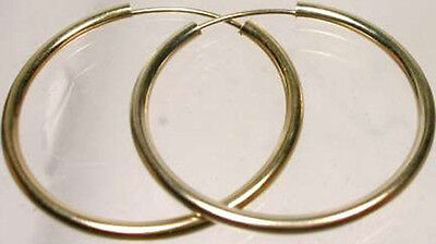 High Quality 14kt Gold 21mm Endless Hoop Earrings Ancient Roman Celtic Britannia