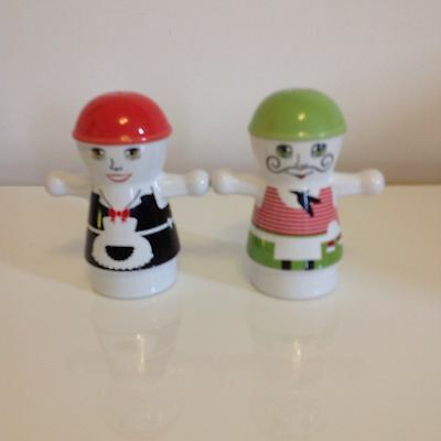 Ceramic Salt And Pepper Pots French Chef And Maid Excellent Condition