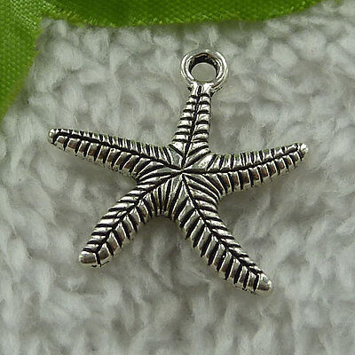free ship 280 pieces tibet silver starfish charms 25x25mm #3059