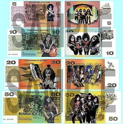 Set Of 4 Kiss / Gene Simmons Double Sided Fun Australian Style Notes