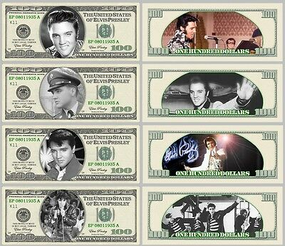 Set Of 4 Elvis Presley Fun Us Style Notes 2 Sided