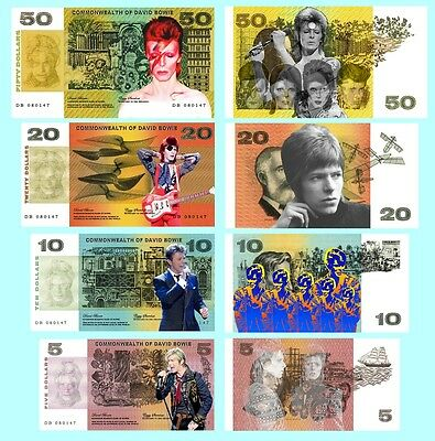 Set Of 4 David Bowie Fun Australian Notes 2 Sided
