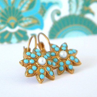 Victorian Sunburst Swarovski Turquoise and Pearl Leverback Earrings