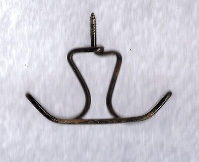 Rare Vintage Twisted Metal Wire Screw In Under Shelf Cup Hook Hanger 3.25 x 2.50