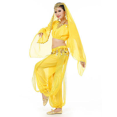 Belly Dance Costumes Set Indian Dancing Dress Clothes Top Pants Veil yellow