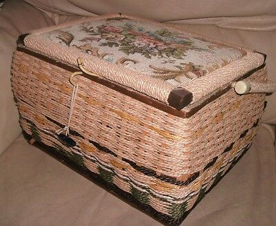 "RETRO LARGE WICKER STYLE SEWING BASKET 13"" Tapestry top - Storage Craft Vintage"