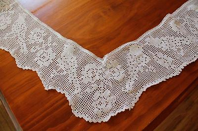 Vintage White Crochet Lace Tablecoth Edging - Bird and Flowers - Craft, Sewing