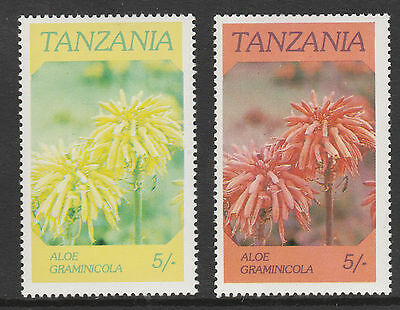 Tanzania (37) 1986 Flowers 5s RED OMITTED plus normal both mnh SG 475var