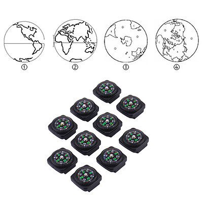 10PCS 20mm Small Mini Compass with Leather Sheath Survival Navigation Tool
